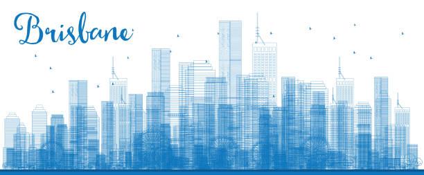 Outline Brisbane skyline with blue building. vector art illustration