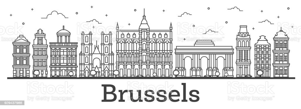 Outline Brussels Belgium City Skyline with Historic Buildings Isolated on White. vector art illustration