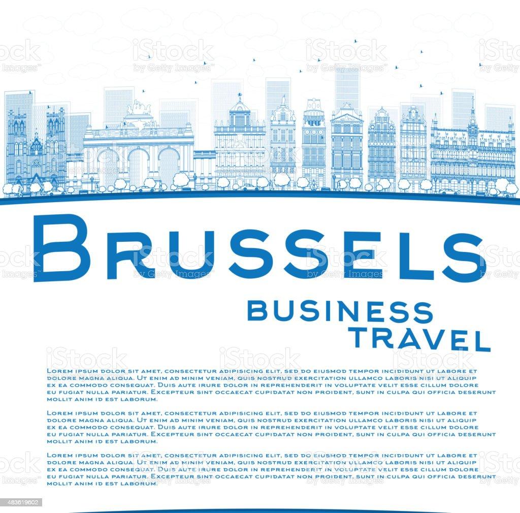 Contorno azul de la ciudad de Bruselas y de construcción con espacio de copia - ilustración de arte vectorial