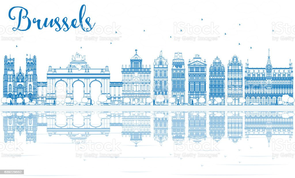 Outline Brussels Skyline with Blue Buildings and Reflections. - ilustración de arte vectorial