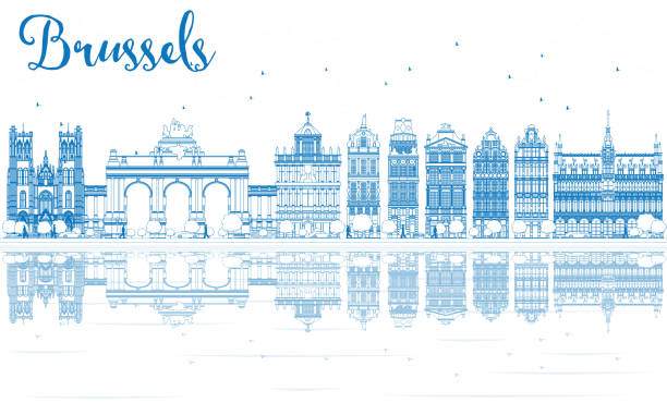 stockillustraties, clipart, cartoons en iconen met outline brussels skyline with blue buildings and reflections. - brussels