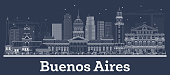 Outline Buenos Aires Argentina City Skyline with White Buildings. Vector Illustration. Business Travel and Tourism Concept with Historic Architecture. Buenos Aires Cityscape with Landmarks.