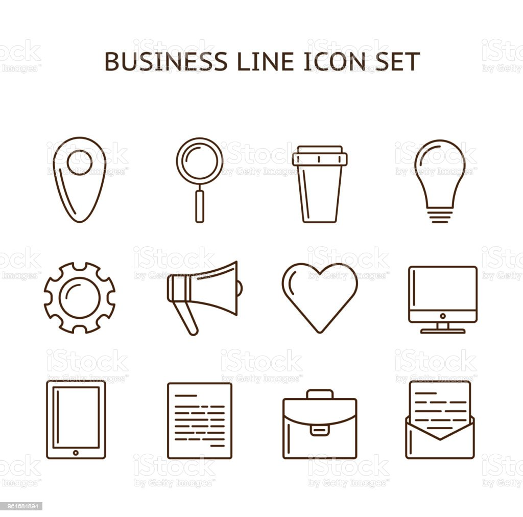 Outline business icon set royalty-free outline business icon set stock vector art & more images of agreement