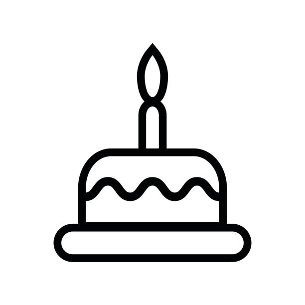 Royalty Free Cartoon Of Birthday Cake Outline Clip Art, Vector Images & Illustrations