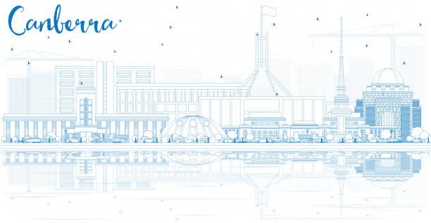 bildbanksillustrationer, clip art samt tecknat material och ikoner med kontur canberra skyline med blå byggnader och reflektioner. - canberra skyline