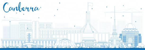 bildbanksillustrationer, clip art samt tecknat material och ikoner med kontur canberra skyline med blå byggnader. - canberra skyline