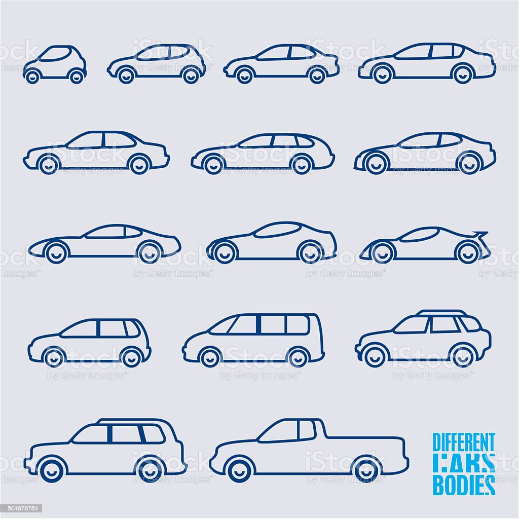 outline cars icons set vector art illustration