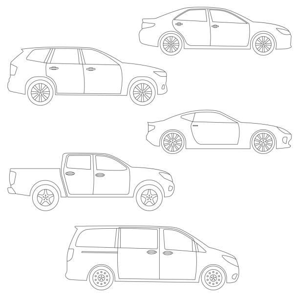 bildbanksillustrationer, clip art samt tecknat material och ikoner med kontur bilar set. sidovy. annan typ av fordon: sedan, suv, van, pickup, coupe, sportbil. vektorillustration. - sedd från sidan