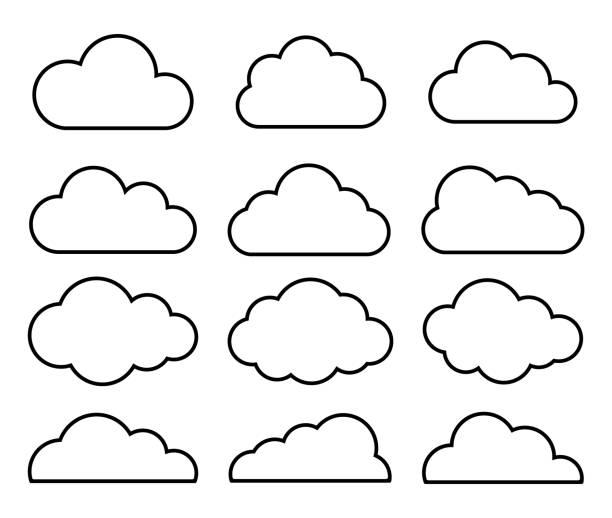 개요 만화 플랫 스타일 구름 아이콘 컬렉션입니다. 일기 예보 로고 기호입니다. 벡터 일러스트 이미지입니다. 흰색 배경에 격리. - 구름 stock illustrations