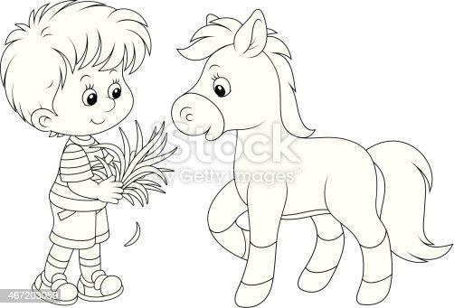 Introduce Un Niño Pony - Arte vectorial de stock y más imágenes de ...