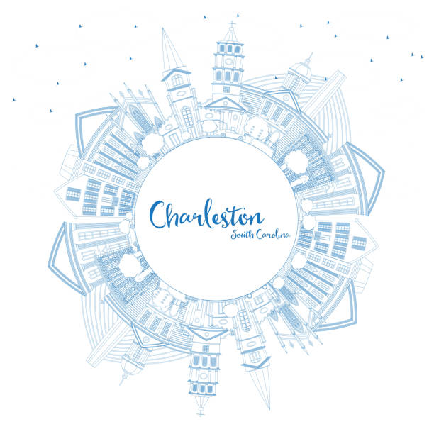 Outline Charleston South Carolina City Skyline with Blue Buildings and Copy Space. Outline Charleston South Carolina City Skyline with Blue Buildings and Copy Space. Vector Illustration. Business Travel and Tourism Illustration with Historic Architecture. south carolina stock illustrations