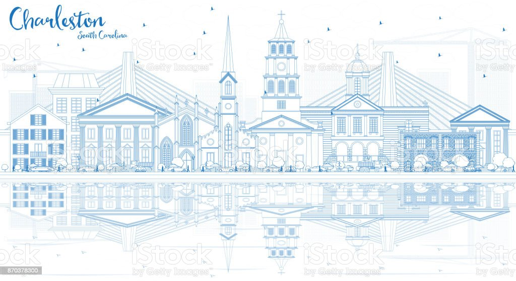 Outline Charleston South Carolina Skyline with Blue Buildings and Reflections. vector art illustration
