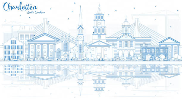 Outline Charleston South Carolina Skyline with Blue Buildings and Reflections. Outline Charleston South Carolina Skyline with Blue Buildings and Reflections. Vector Illustration. Business Travel and Tourism Illustration with Historic Architecture. south carolina stock illustrations
