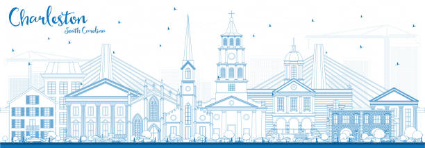Outline Charleston South Carolina Skyline with Blue Buildings. Outline Charleston South Carolina Skyline with Blue Buildings. Vector Illustration. Business Travel and Tourism Illustration with Historic Architecture. south carolina stock illustrations
