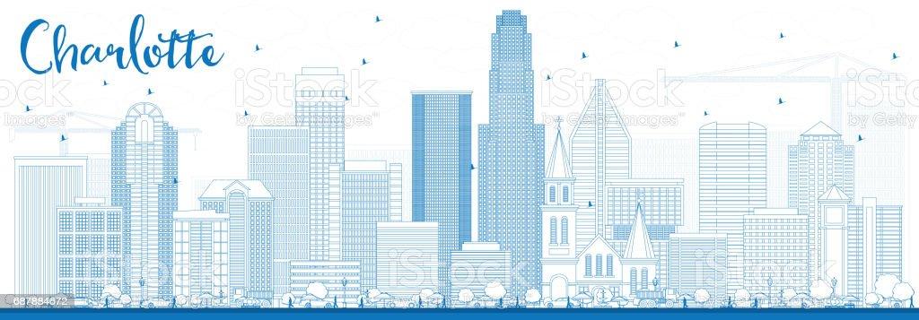 Outline Charlotte Skyline with Blue Buildings. vector art illustration