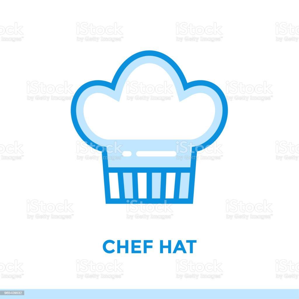 개요 요리사 모자 아이콘입니다. 벡터 그림 인쇄, 웹사이트 및 프레 젠 테이 션에 적합 - 로열티 프리 0명 벡터 아트