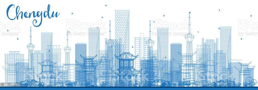 Mavi binaları ile anahat Chengdu Çin şehir manzarası. - Royalty-free Asya Vector Art
