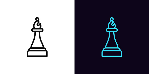 Outline chessman bishop icon, with editable stroke. Linear bishop sign, chess piece pictogram