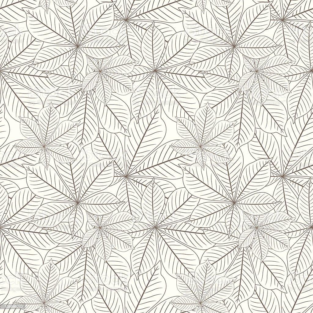 outline chestnut's leaves royalty-free stock vector art