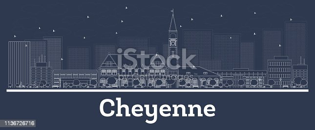 Outline Cheyenne Wyoming City Skyline with White Buildings. Vector Illustration. Business Travel and Concept with Modern Architecture. Cheyenne Cityscape with Landmarks