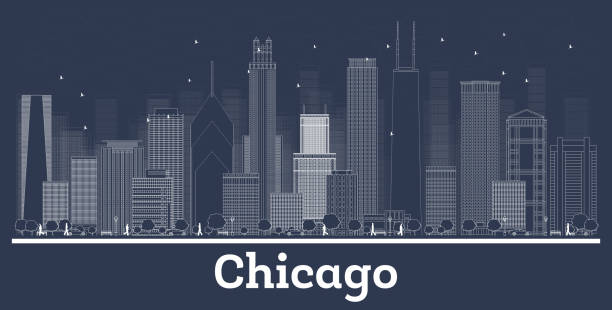 Outline Chicago Illinois City Skyline with White Buildings. Outline Chicago Illinois City Skyline with White Buildings. Vector Illustration. Business Travel and Tourism Concept with Historic Architecture. Chicago Cityscape with Landmarks. chicago stock illustrations