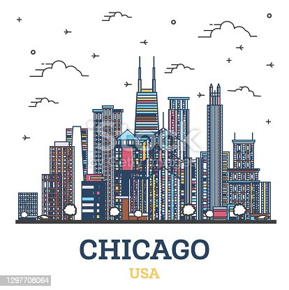 Outline Chicago Illinois USA City Skyline with Colored Modern Buildings Isolated on White.