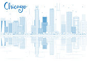 Outline Chicago skyline with blue buildings and reflections.