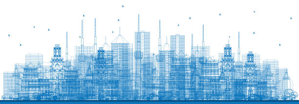 outline city skyscrapers and buildings in blue color. - philadelphia skyline stock illustrations, clip art, cartoons, & icons