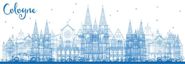 umriss köln deutschland stadt skyline mit blauen gebäude. - köln stock-grafiken, -clipart, -cartoons und -symbole
