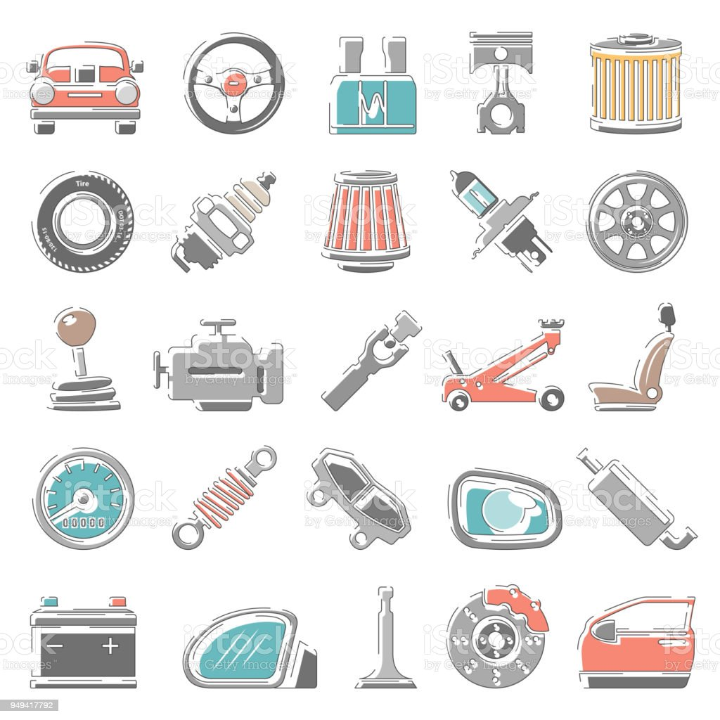 Outline Color Icons Car Parts Stock Vector Art & More Images of Air ...