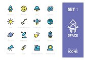 Outline color icons set in thin modern design style