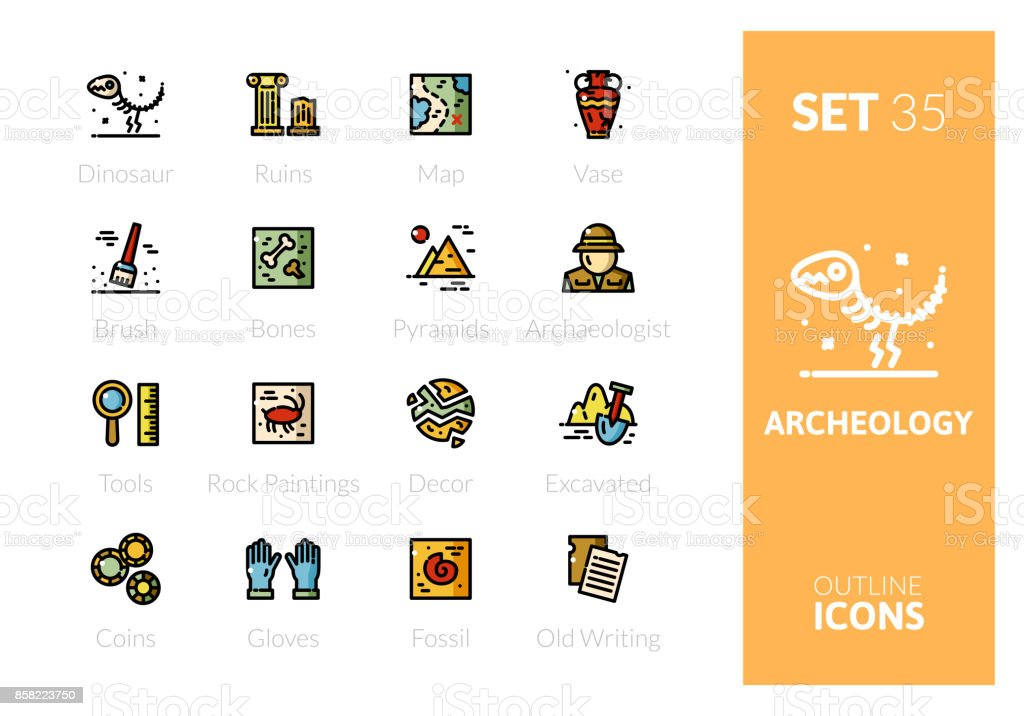 Outline color icons set in thin modern design style vector art illustration