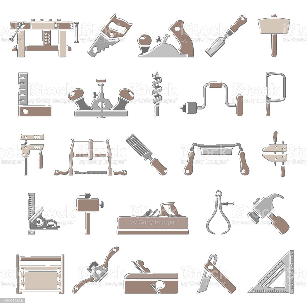 Outline Color Icons Traditional Woodworking Tools Stock Vector Art