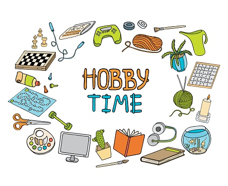 Outline colorful doodle hobbies set. Stay home concept. Top table and video games, painting, reading, sport, knitting, gardening vector illustration. Hand drawn elements on white for banners, design