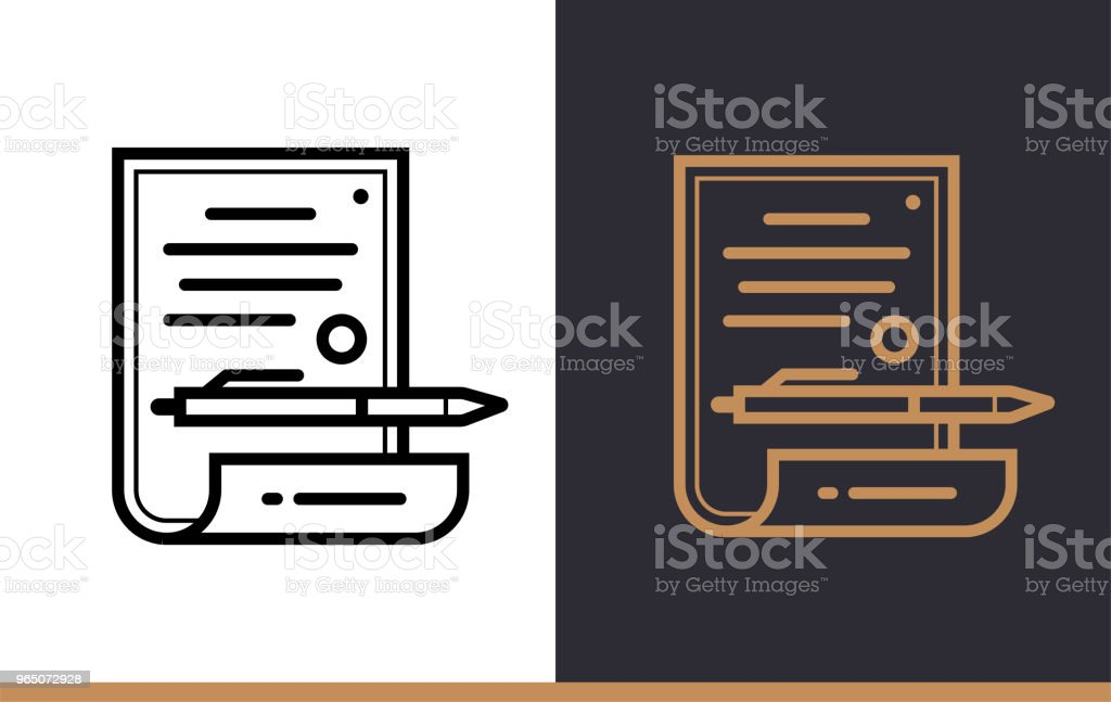 Outline contract icon for startup business. Vector line icons suitable for info graphics, print media and interfaces royalty-free outline contract icon for startup business vector line icons suitable for info graphics print media and interfaces stock vector art & more images of business