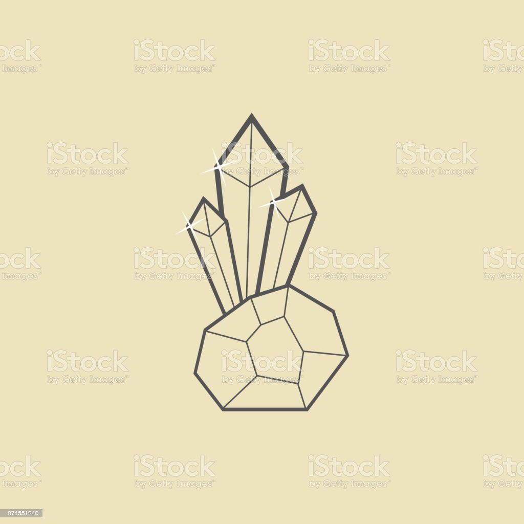 outline crystal with stone on dark yellow background vector art illustration