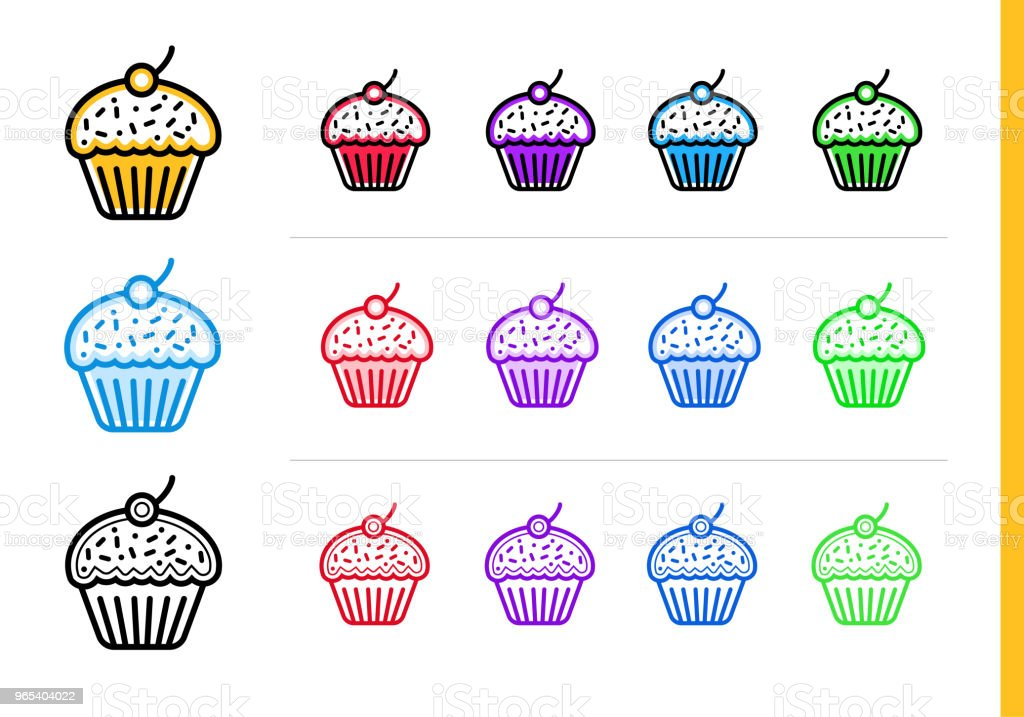 Outline CUPCAKE icon in different colors. Vector elements suitable for website, mobile application and presentation outline cupcake icon in different colors vector elements suitable for website mobile application and presentation - stockowe grafiki wektorowe i więcej obrazów bez ludzi royalty-free