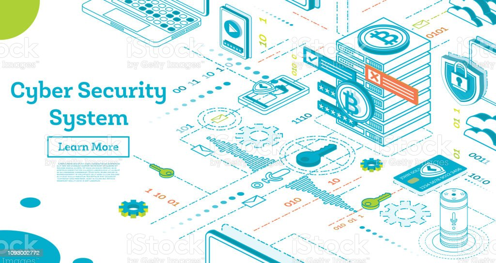 Umriss-Cyber-Security-Konzept. Isometrische Illustration, Isolated on White. – Vektorgrafik