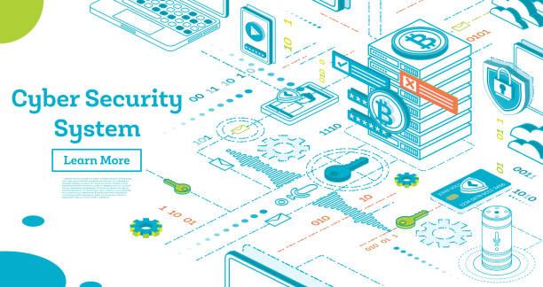 umriss-cyber-security-konzept. isometrische illustration, isolated on white. - rechtsassistent stock-grafiken, -clipart, -cartoons und -symbole