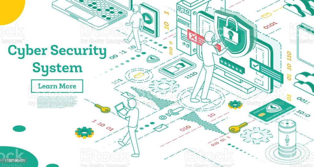 Umrissenes Cyber-Sicherheitskonzept. Isometrische Illustration auf Weiß isoliert. – Vektorgrafik