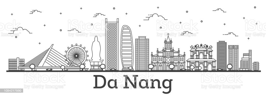 Outline Da Nang Vietnam City Skyline with Historic Buildings Isolated on White. vector art illustration