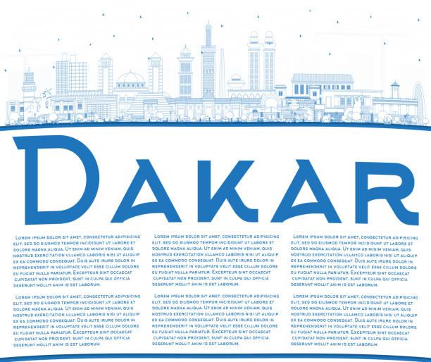 outline dakar senegal city skyline with blue buildings and copy space. - senegal stock illustrations