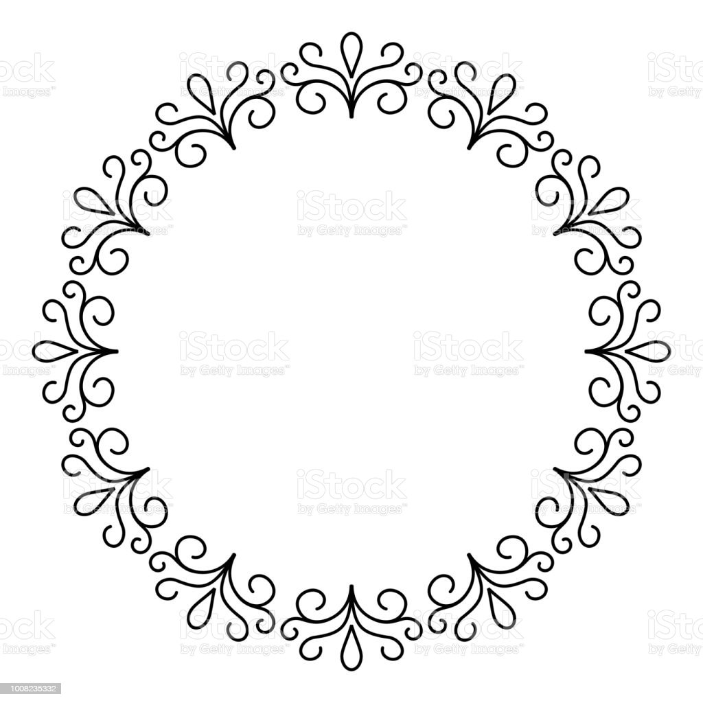 Outline decorative circle frame design, monochrome border
