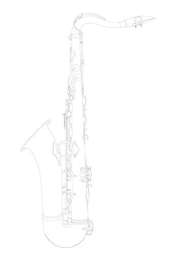 Outline detailed saxophone isolated on white background. Side view. Vector illustration
