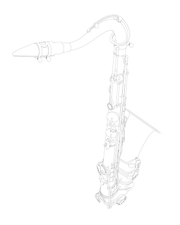 Outline detailed saxophone isolated on white background. Vector illustration