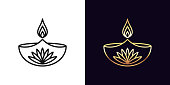 Outline diya icon with editable stroke. Linear golden Diya lamp with fire and lotus flower, Deepavali. Happy Diwali, Festival of the Lights in India. Vector icon, sign, symbol for UI and Animation