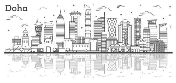 illustrations, cliparts, dessins animés et icônes de contour doha qatar city skyline avec des bâtiments modernes et des réflexions d'isolement sur le blanc. - doha