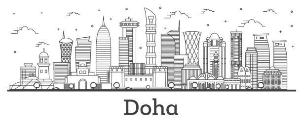 illustrations, cliparts, dessins animés et icônes de contour doha qatar city skyline avec des bâtiments modernes d'isolement sur fond blanc. - doha
