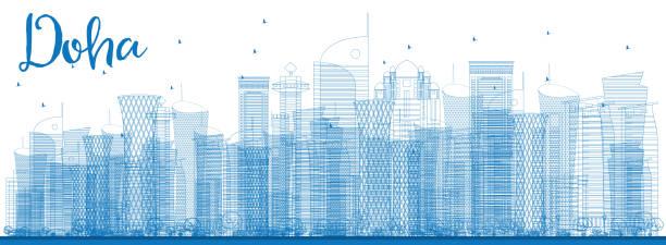 illustrations, cliparts, dessins animés et icônes de contour de doha, avec ses gratte-ciel bleu. - doha