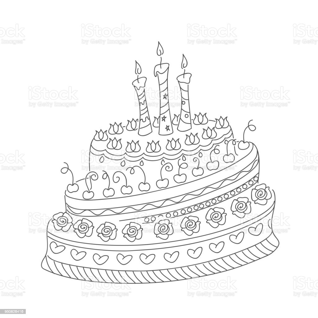 Esquema Doodle Pastel Con Tres Velas - Arte vectorial de stock y más ...